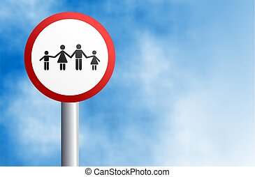 family sign - signpost of a united family holding hands