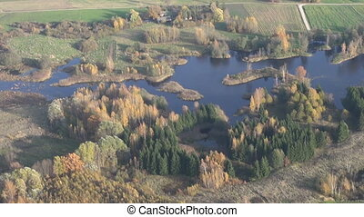 aerial view over autumn lake
