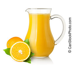 Orange juice in pitcher and oranges. Isolated on white...