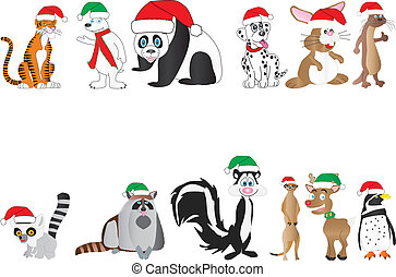 Christmas Animals Collection - A Collection of cute cartoon...