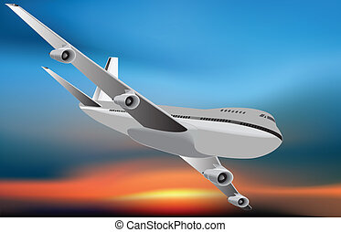 Airplane is flying in the sky