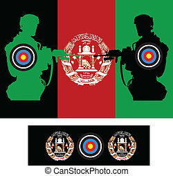 Aghanistan war - Afghanistan flag with soldiers and target