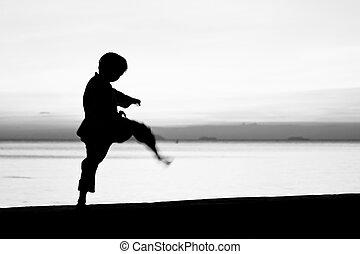 The boy - Silhouette taekwondo boy on the beach at dusk...