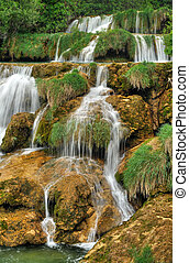 Krka river waterfalls in the Krka National Park, Roski Slap,...