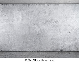 Interior with white plaster wall  with concrete floor