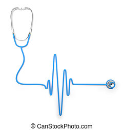 Stethoscope in shape of electrocardiogram line isolated on...