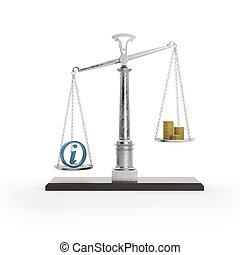 Scale with information symbol and coins isolated on white...