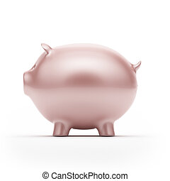 Piggy bank, Side view - Piggy bank, isolated on white in...