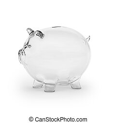 Empty glass piggy bank isolated on white background