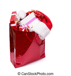 There are many presents in the red box with hat