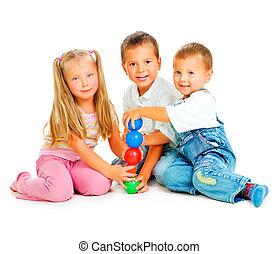 crianças, tocando, chão, educacional, jogos,...