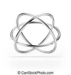 Orbital model of atom isolated on white background