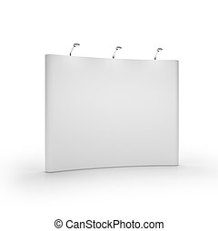 White blank trade show booth isolated on white background