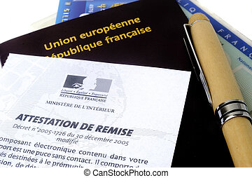 biometric passport - biometric French passport in studio on...