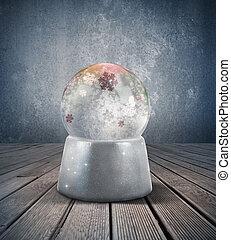 Snow sphere - Glowing snow sphere in a vintage room