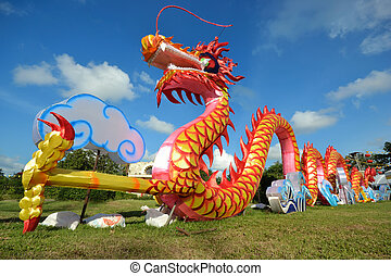 dragon - Colorful decorated dragon against blue sky
