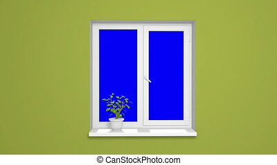 opening plastic window with blue ch