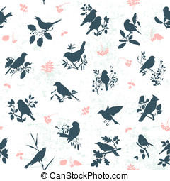 Songbirds seamless - Seamless pattern background with...