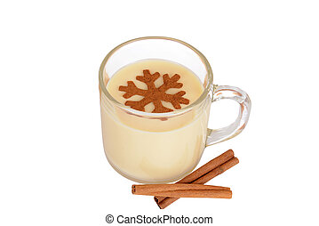eggnog with cinnamon snowflake - top view of eggnog with...