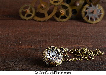 Steampunk style watch with gears - closeup Steampunk style...
