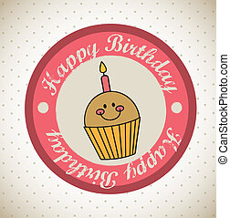 birthday seal - happy birthday seal over vintage background....