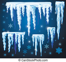 Set of vector icicles for design