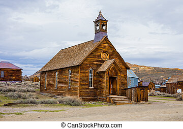 Rustic church building in Bodie town ghost town, California...