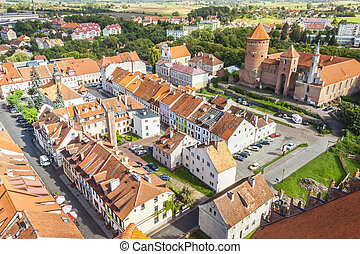 Reszel town - north part of Poland - Aerial view on old town...