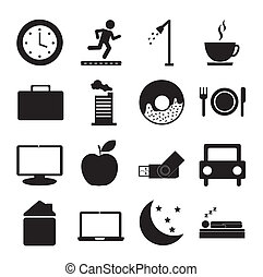 daily routine icons over white background vector...