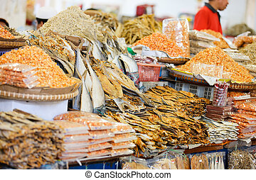 Asian market - Different kinds of dried fish and shrimps at...