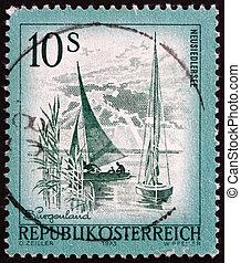 Postage stamp Austria 1973 Lake Neusiedl, Burgenland -...