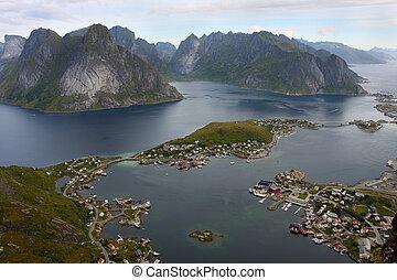 Reine - birds eye view of fishing village Reine, Lofoten,...