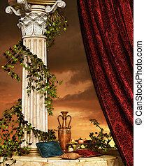Still Life with curtain and column - cozy scene with pillar...