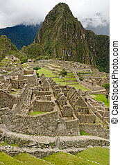 Machu Picchu, Peru - View over the ruins of the lost Inca...