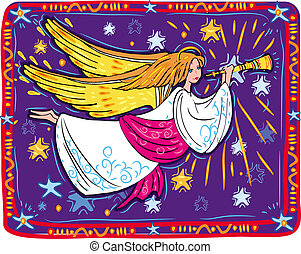 Christmas angel and trumpet