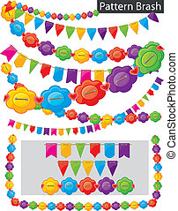 Pattern brash - garland of flowers and flags