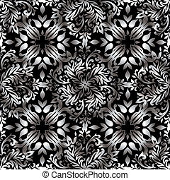 Abstract floral repeat silver - illustrated wallpaper design...