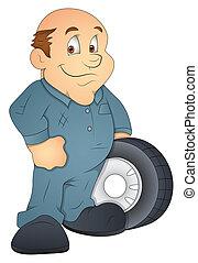 Automobile Engineer Cartoon Vector
