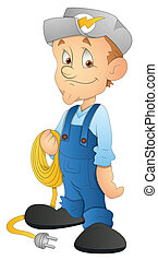 Cartoon Electrician Character - Creative Conceptual Design...
