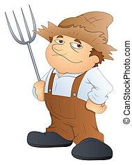Cartoon Farmer Character Vector - Drawing Art of Farmer...