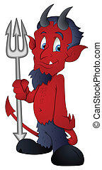 Cartoon Devil - Vector Illustration - Creative Abstract...