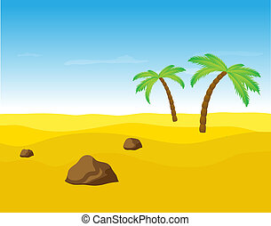 Palm trees in the desert - Palm trees in the desert, vector...
