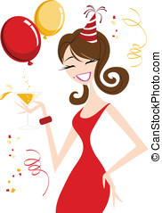 Celebration Girl - Happy Gilr with party hat and drink in...