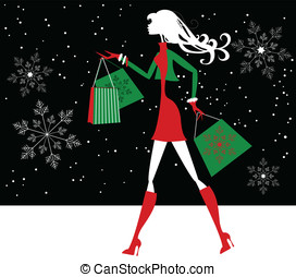 Christmas Shopping Girl Silhouette - Silhouette illustration...