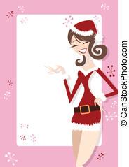 Fun Santa Girl - Happy Girl in retro style illustration with...