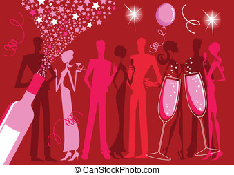 Party People - Silhouette illustration of a group of people...