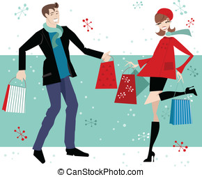 Happy Couple Christmas Shopping - man and woman with...
