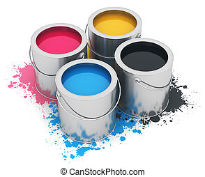 Cans with CMYK paint - Group of metal tin cans with color...
