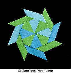 Geometric figure origami - Blue and green geometric figure...
