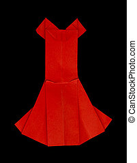Red dress made ??of paper. Isolataed origami